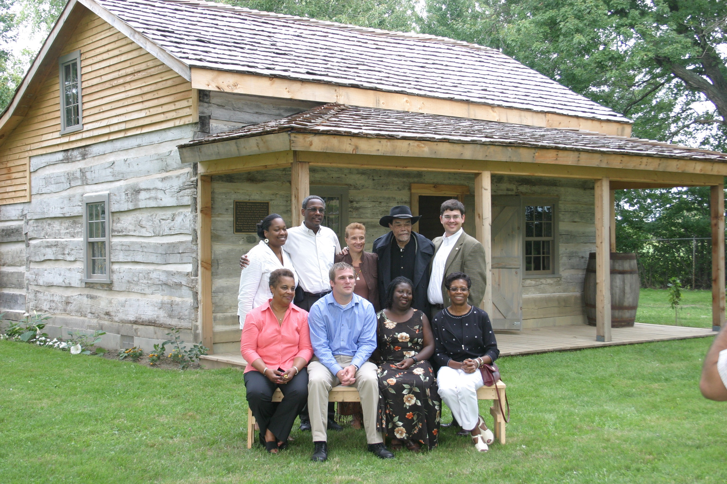 Marvelous photograph of Visitors to the oldest standing log cabin built in 1852 by a former  with #865845 color and 3072x2048 pixels